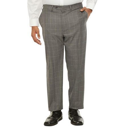 60s – 70s Mens Bell Bottom Jeans, Flares, Disco Pants Shaquille ONeal XLG Mens Windowpane Stretch Classic Fit Suit Pants - Big and Tall 54 30 Gray $79.99 AT vintagedancer.com