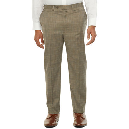 60s – 70s Mens Bell Bottom Jeans, Flares, Disco Pants Shaquille ONeal XLG Mens Plaid Stretch Classic Fit Suit Pants - Big and Tall 60 32 Brown $79.99 AT vintagedancer.com