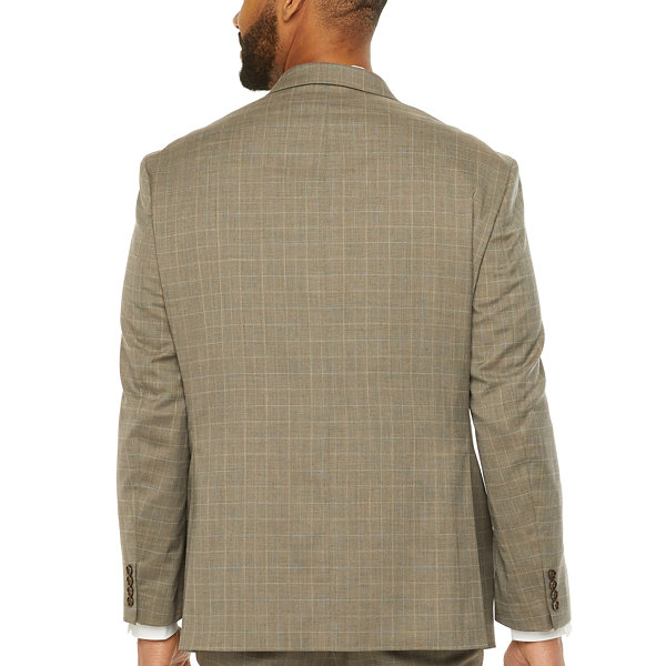 Shaquille O'Neal XLG Mens Plaid Stretch Classic Fit Suit Jacket-Big and Tall