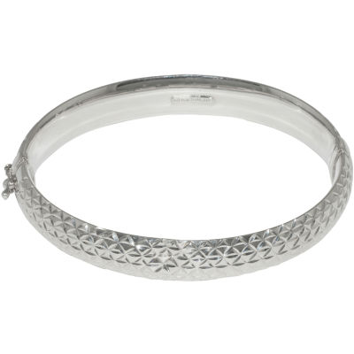 Sterling Silver Diamond Cut Bangle Bracelet