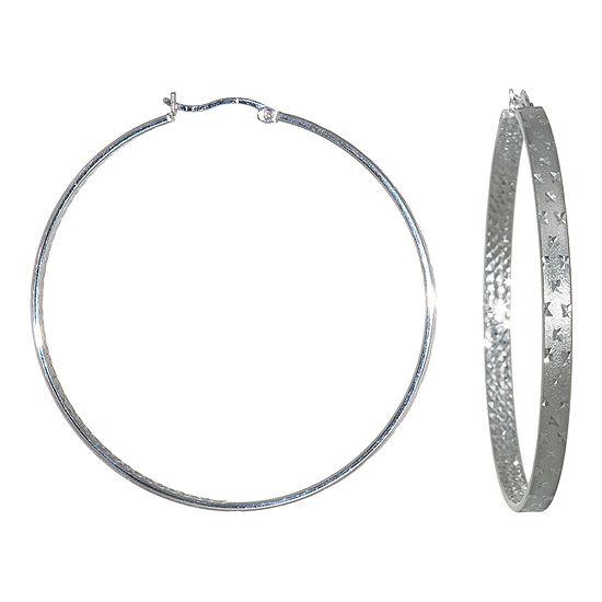 Sterling Silver Diamond Cut Hoop Earring