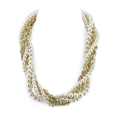 1928® Simulated Pearl Gold-Tone Torsade Necklace
