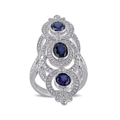 Lab-Created Blue Sapphire and 1/10 CT. T.W. Diamond Sterling Silver Milgrain Ring