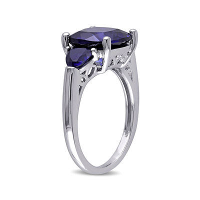 Lab-Created Blue Sapphire Sterling Silver 3-Stone Ring