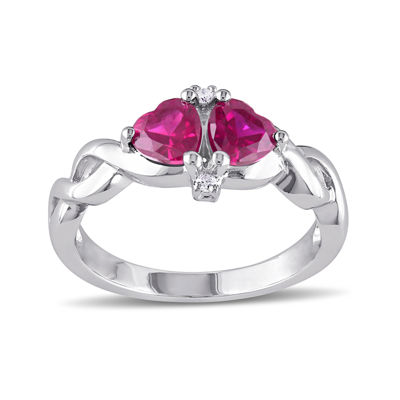 Heart-Shaped Lab-Created Ruby and Diamond-Accent Sterling Silver Ring