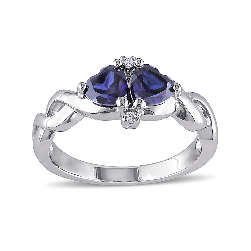 Heart-Shaped Lab-Created Blue Sapphire and Diamond-Accent Sterling Silver Ring