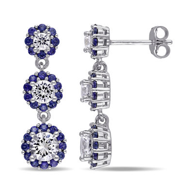 Lab-Created Blue Sapphire and Lab-Created White Sapphire Sterling Silver Triple-Drop Earrings