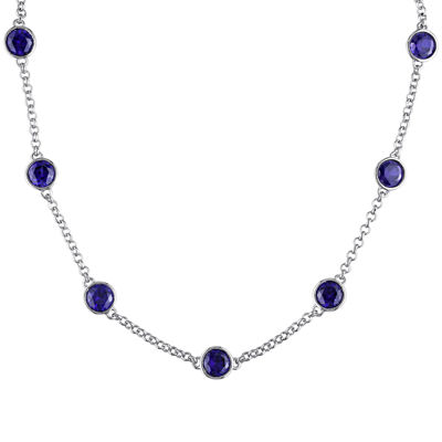 Lab-Created Blue Sapphire Sterling Silver Bead Station Necklace