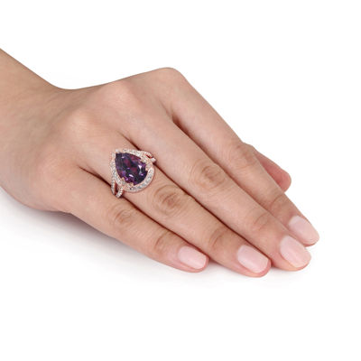 Genuine Amethyst, White Topaz and Diamond-Accent Ring