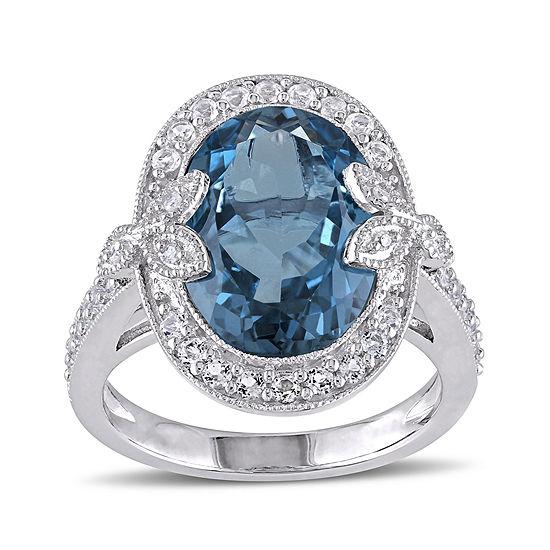 Genuine London Blue Topaz, White Topaz and Diamond-Accent Ring