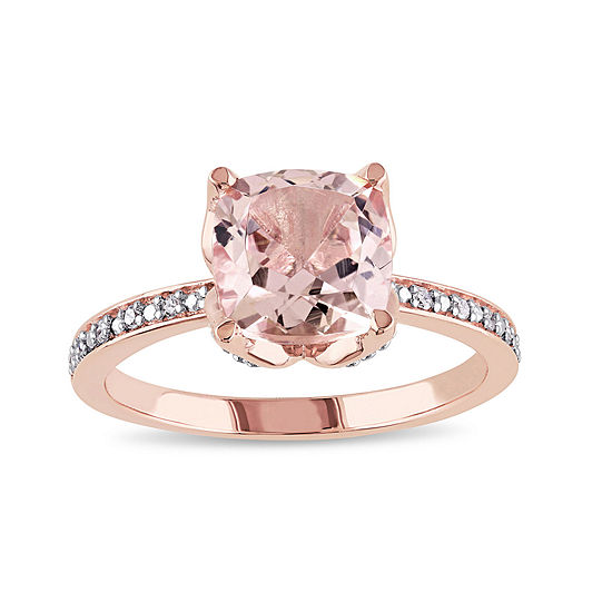 Cushion Cut Genuine Morganite And Diamond Accent 10k Rose Gold Ring