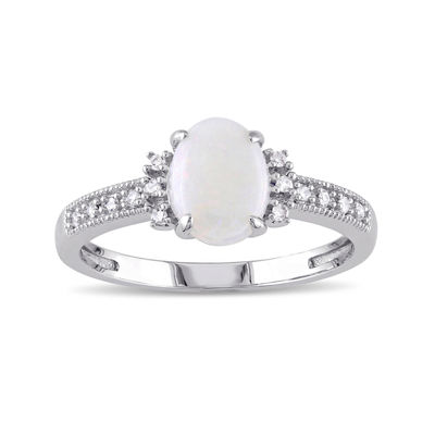 Genuine Opal and Diamond-Accent 10K White Gold Ring