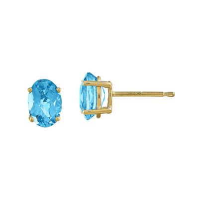 Oval Genuine Blue Topaz 14K Yellow Gold Stud Earrings