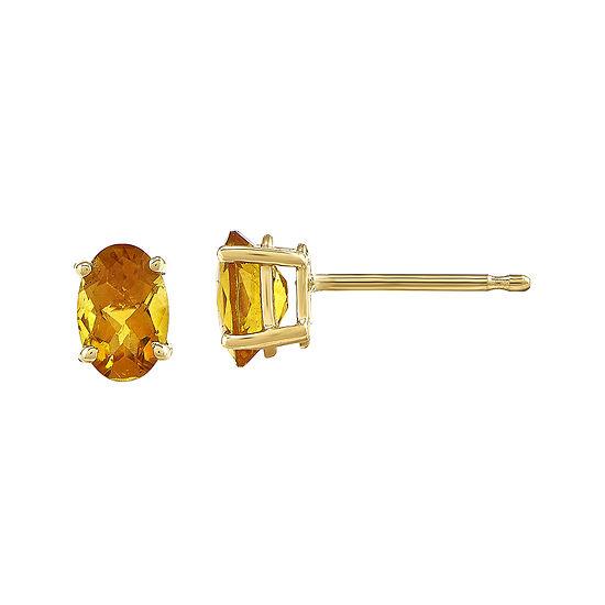 Oval Genuine Citrine 14K Yellow Gold Stud Earrings