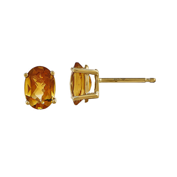 Oval Genuine Citrine 14K Yellow Gold Stud Earrings