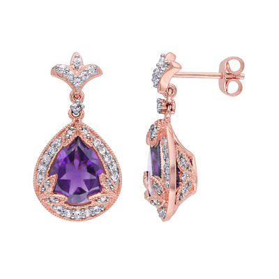 Genuine Amethyst, White Topaz and 1/10 CT. T.W. Diamond Earrings