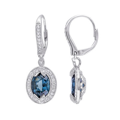 Genuine London Blue Topaz, White Topaz and Diamond-Accent Earrings