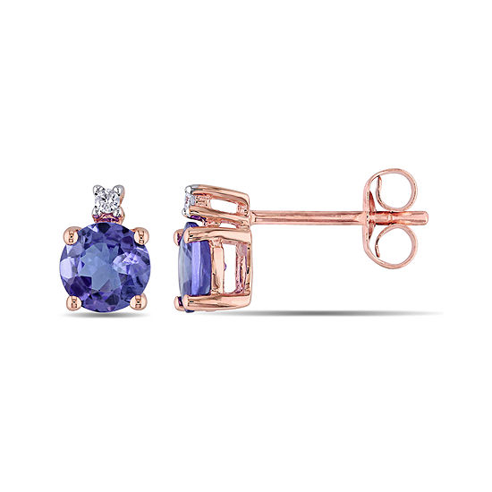 Round Genuine Tanzanite And Diamond Accent 10k Rose Gold Stud Earrings