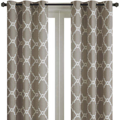 Madison Park Almaden Printed Fret Grommet-Top Curtain Panels