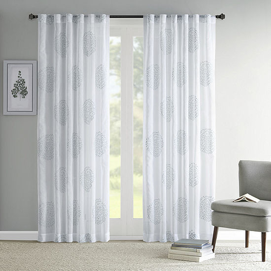Madison Park Isla Sheer Branch Flocking Rod-Pocket/ Back Tab Curtain Panel