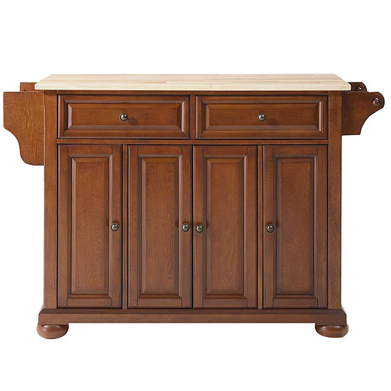 Caldwell Natural Wood Top Kitchen Island