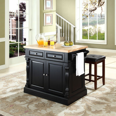 Dayton Butcher Block Kitchen Island With Upholstered Stools