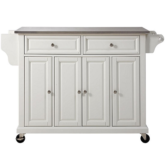 Wellman Stainless Steel-Top Kitchen Island