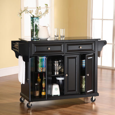 Wellman Black Granite-Top Rolling Kitchen Island