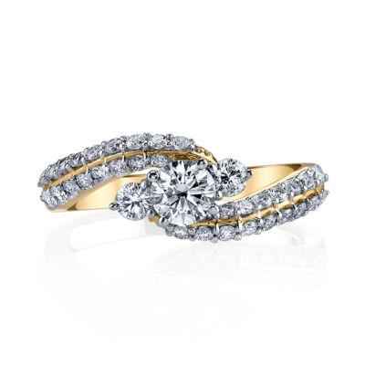 Sirena Womens 1 CT. T.W. Genuine White Diamond 14K Gold Engagement Ring