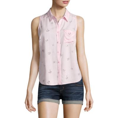 Arizona Womens Sleeveless Button-Front Shirt-Juniors