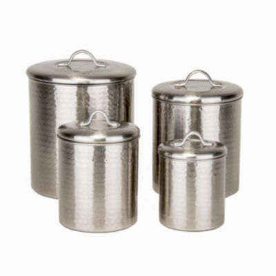 Old Dutch 4 Piece Brushed Nickel Hammered CanisterSet with Fresh Seal Lids