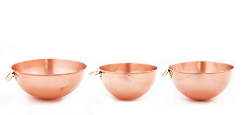 Old Dutch Set of 3 Solid Copper Beating Bowls