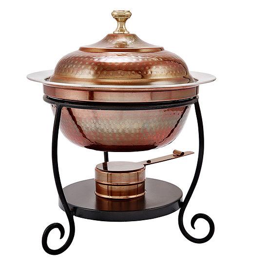 Old Dutch Round Antique Copper Chafing Dish 1.75 Qt