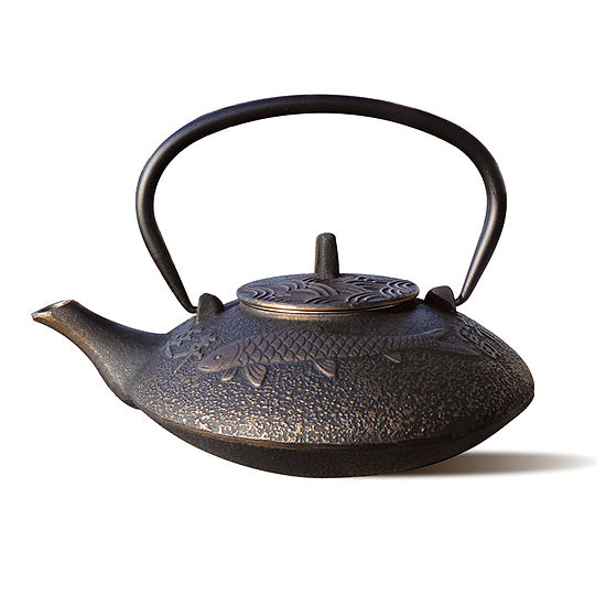Old Dutch 38 Oz Black and Copper Cast Iron Koi Teapot