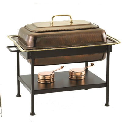 Old Dutch Rectangular Antique Copper over Stainless Steel Chafing Dish 8 Qt