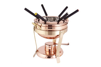 Old Dutch Décor Copper and Brass Fondue Set with6 Forks 2.75 Qt