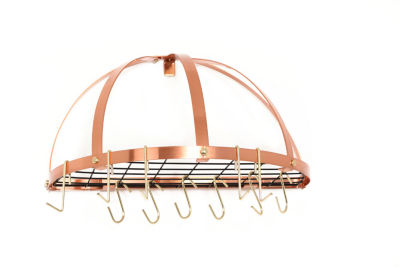 Old Dutch Copper Medium Gauge Half Round Pot Rack with Grid and 12 Hooks