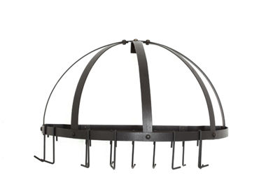 Old Dutch Graphite Medium Gauge Half Round Pot Rack with Grid and 12 Hooks