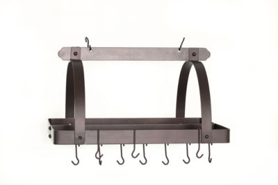 Old Dutch Oiled Bronze Rectangular Hanging Pot Rack with Grid and 24 Hooks