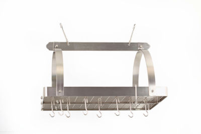 Old Dutch Satin Nickel Rectangular Hanging Pot Rack with Grid and 24 Hooks
