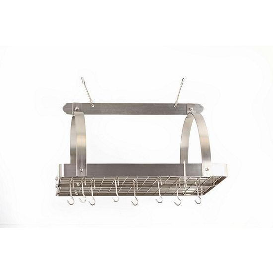 Old Dutch Satin Nickel Rectangular Hanging Pot Rack with Grid and 24 Hooks