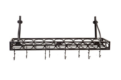 Old Dutch Matte Black Medium Gauge Wall Mount Bookshelf Pot Rack with 8 Hooks