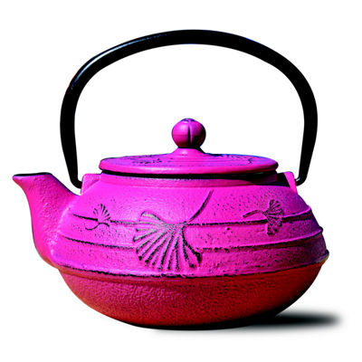 Old Dutch 22 Oz Fuchsia Cast Iron Ginkgo Teapot