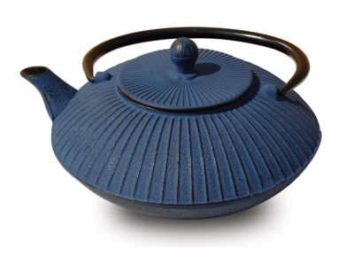 Old Dutch 27 Oz Blue Cast Iron Fidelity Teapot