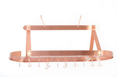Old Dutch Décor Copper Oval Hanging Pot Rack withGrid and 24 Hooks