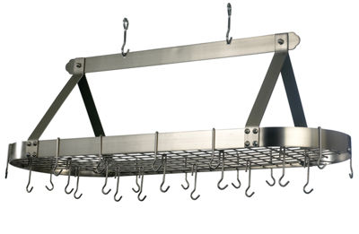 Old Dutch Satin Nickel Oval Hanging Pot Rack withGrid and 24 Hooks