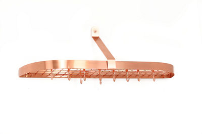 Old Dutch Décor Copper Wall Mount Pot Rack with Grid and 12 Hooks