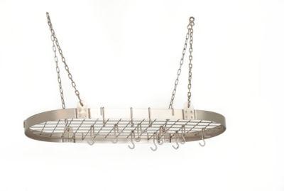 Old Dutch Satin Nickel Medium Gauge Oval Pot Rackwith Grid and 12 Hooks