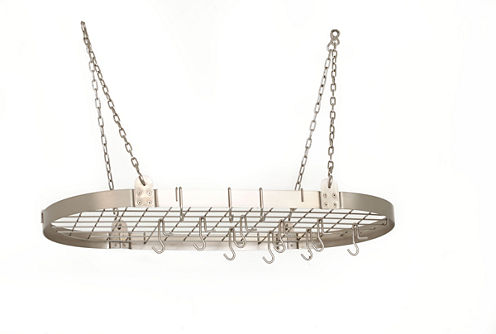 Old Dutch Satin Nickel Medium Gauge Oval Pot Rackwith Grid and 12 Hooks