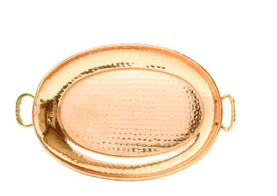 Old Dutch Hammered Décor Copper Oval Tray with Cast Brass Handles